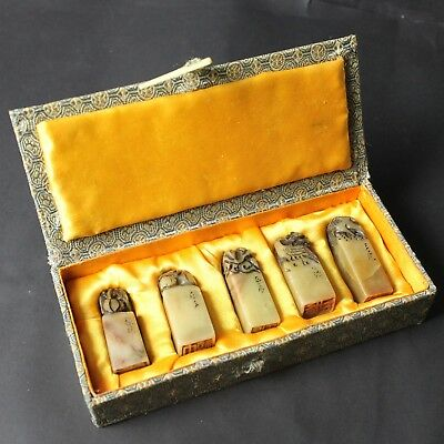 OLD Chinese ShouShan Stone Seal PIXIU Stamp Statue 5p Set w/ Box from Japan a726