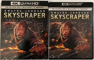Skyscraper 4K Ultra Hd Blu Ray 2 Disc Set + Slipcover Sleeve Dwyane Johnson