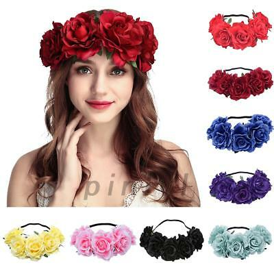 Dazzling Women's Oversized Large Rose Flower Headband Floral Crown Wreath