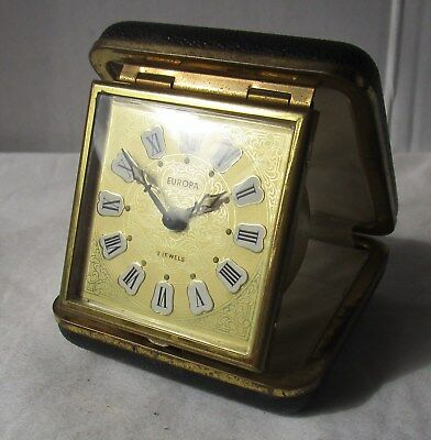 Ornate Gold Faced Travel Alarm Clock from EUROPA – 2 Jewels