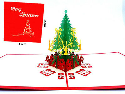 3D Pop Up Cards Handmade Postcards Holiday Greeting Cards Merry Christmas Tree