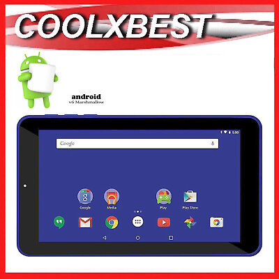 """7"""" BLUE ANDROID 6.0 TABLET PC QUAD CORE 16GB BLUETOOTH & WiFi KIDS STUDENT"""