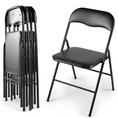 Commercial Black Plastic Folding Chair 4/5/6 PCS Wedding Party Banquet Chairs