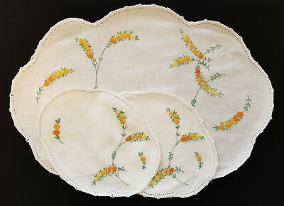 SET of 3, 1950's VINTAGE EMBROIDERED DOILIES,  'WATTLE / ACACIA FLORAL DESIGN'