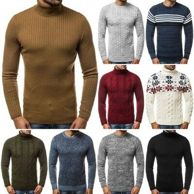 655f08b5ce5 Pull Tricot Maillot Manches Longues Pull Sweatshirt Col Roulé Homme Ozonee  8332