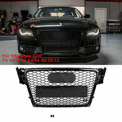 For Audi A4 S4 B8 09-12 for RS4 Front Hood Gloss Black Mesh Bumper Grille
