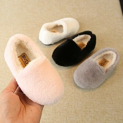 Children Infant Kid Girls Solid Winter Warm Fluffy Flock Single Casual Shoes