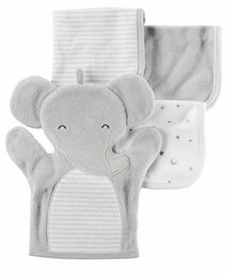 CARTER'S 4-Pack Gray Elephant Washcloth Set with Mitten & Washcloths