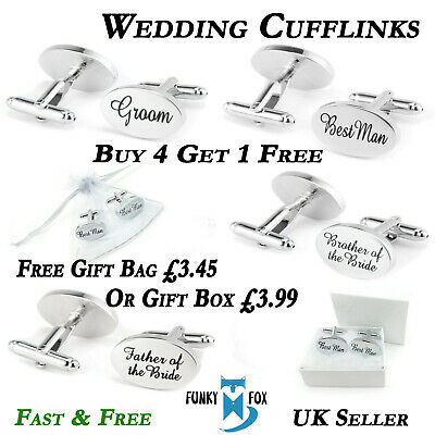 Silver & Gold Engraved Wedding Cufflinks Mens Oval Personalised Cuff Links UK