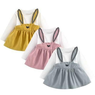 Rabbit Toddler Baby Girl Dress Long Sleeve Party Casual Dresses Kids Clothes NEW