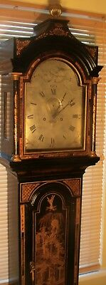 "Antique  Black Lacquered Case "" Plymouth"" Longcase / Grandfather  Clock"