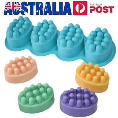 AU Ship 4 Grids Silicone Soap Fondant Cake Mold Candle DIY Handmade Crafts Mould
