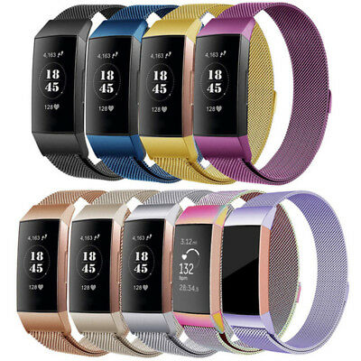 Replacement Magnetic Metal Loop Straps Stainless Steel Band For Fitbit Charge 3