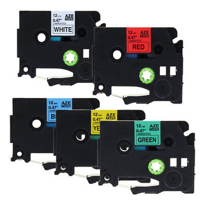 TZe 231 431 531 631 731 Replace Brother Label maker Tape P-touch 12mm 5Pcs 1/2''