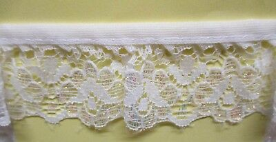 produced in Nottingham 4mtrs of 5.5cm Flat White Lace  design 1