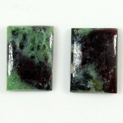 9.25 Cts Natural Ruby Zoisite Octagon Shape Matching Pair Gemstone Cabochon