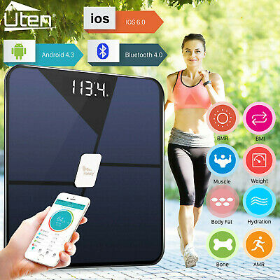 Bluetooth Bathroom Scales BMI Body Fat Monitor Glass Weighing Scale iOS, ANDROID