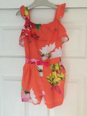 Ted Baker Playsuit, age 3-4, orange floral, lovely condition