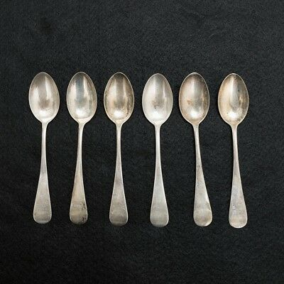 """6 Antique Sterling Silver Teaspoons 5.5"""" Long Total Weight 90 grams / 3.2 oz"""