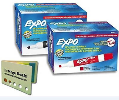 Expo 2 Dozens Of Dry Erase Markers In Black & Red   Consistent Ink Bold Colors  