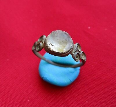 Gorgeous Bronze ring , decorated with glass stone - 14 / 15 century