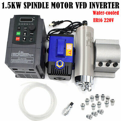 1.5KW CNC ER16 Spindle Motor Water Cooled 24000RPM+VFD Inventer+Bracket+Collets