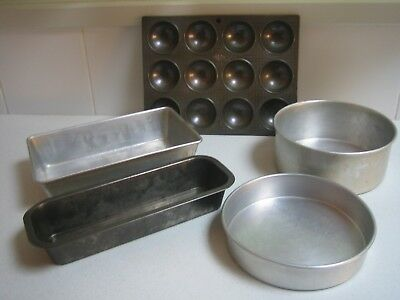 Vintage Baking Tins Scone Log Loaf Round Cake Lot of 5