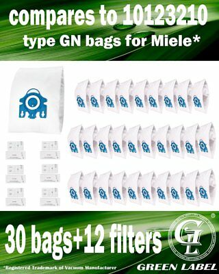 For Miele GN Filter Bags For Canister Vacuums(30 bags,12 filters).By Green Label
