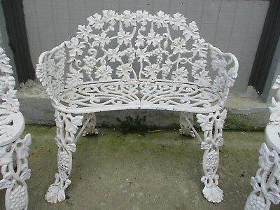 Vintage Cast Iron Victorian Grape & Leaf 3' Garden Bench with Two Chairs LOCAL