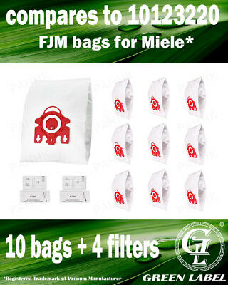 FJM 3D 10 Dust Bags/4 Micro Filters for Miele (OEM# 10123220). By Green Label