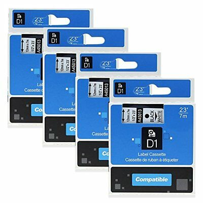 4 Pack Compatible DYMO D1 Label Cassette 45013 S0720530 Label Maker Tape Black x