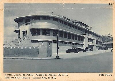 PANAMA CITY NATIONAL POLICE STATION - 1950 POSTCARD old cars, lamps