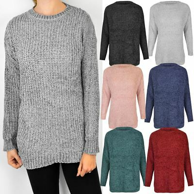 Womens Ladies Thick Jumper Chunky Knitted Soft Long Sleeve Winter Sweater Size