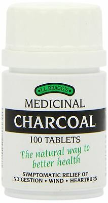 BRAGGS CHARCOAL Natural 100 Tablets For Indigestion Wind Heartburn