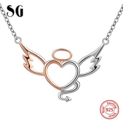 Rose Gold Angel Heart Devil Pendant Necklace 925 Silver Xmas Gifts For Her Wife