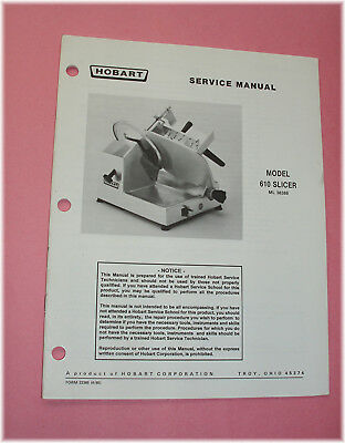 Hobart 610 Commercial Slicer --Factory Service Manual *LOOK*