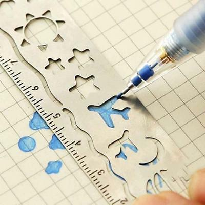 1pcs Hollow Metal Bookmark Drawing Templates Ruler School Office Supply Gifts