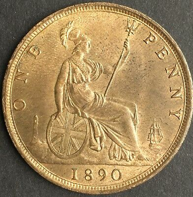 1890 Great Britain Penny in AU/UNC Condition