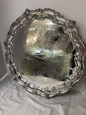 """Vintage Silver Birmingham Silver Co Inc Round Chippendale Silver Footed Tray 21"""""""