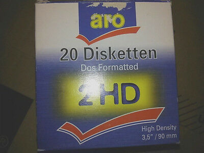 """Aro 20 Disketten 2 HD 3.5""""/90mm DOS Formatted High Density"""