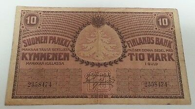 1918 Finland ~ 10 Markkaa Banknote ~ Fine Condition ~ Vintage Currency!