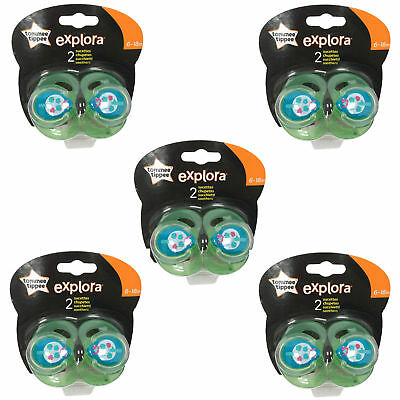 5 x TOMMEE TIPPEE Explora 6-18 month Baby Boy BPA Free Latex Cherry Teat Soother