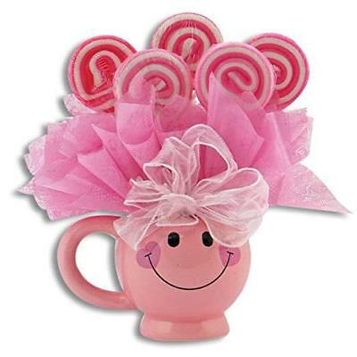 Baby Girl Birth Announcement Pink Smiley Face Mug With Lollipop