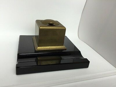 vintage art deco type inkwell with insert shutter top pen rest marble type base