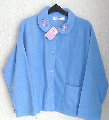 Ladies  Fleece Long Sleeved Blue Button Fronted Bed Jacket Size (24/26)
