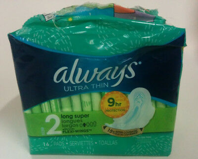 Always Ultra Thin Size 2 Long Super Pads w Flexi-Wings, 16 Pads - Torn Packaging