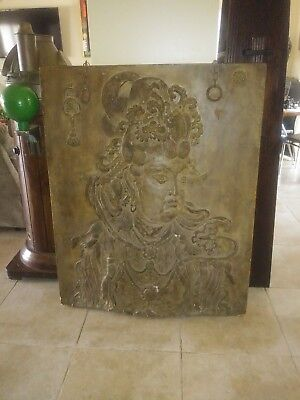Vintage Giant Asian Raised Carving Temple Panel Wall Hanging