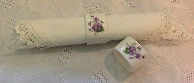 2 pc Vintage Napkin Rings White with Purple Flower Design Porcelain 2""