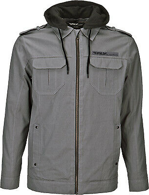 Fly Racing Men's Waxed Grey Hooded Fleece Lined Casual Pit Jacket