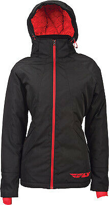 Fly Racing Ladies Lean Black/Red Technical Style Zip Front Hooded Jacket